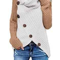 Color Block Waffle Knit Crew Neck Casual Sweaters