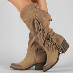 Women's Suede Chunky Heel Mid-Calf Boots With Zipper Tassel Button shoes