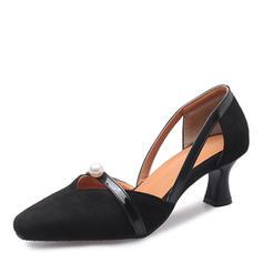 Femmes Suède Talon stiletto Escarpins Bout fermé avec Perle d'imitation chaussures