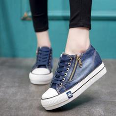 Frauen Leinwand Keil Absatz Flache Schuhe mit Reißverschluss Schuhe