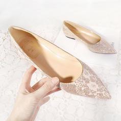 Femmes Cuir en microfibre Talon plat Bout fermé Chaussures plates avec Couture dentelle