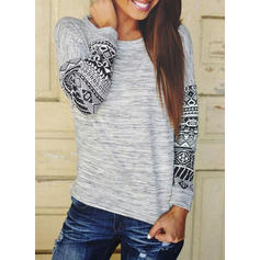 Print Round Neck Long Sleeves Casual Knit T-shirts