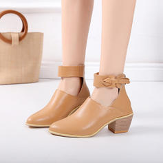 Women's PU Chunky Heel Flats With Buckle shoes