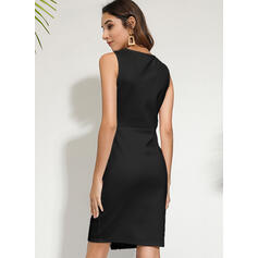 Solid Fără Mâneci Conică Până la Genunchi Negre/Elegant Elbiseler