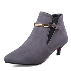 Women's Suede Low Heel Boots Mid-Calf Boots With Chain Elastic Band shoes