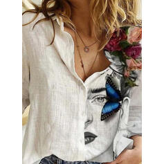 Floral Animal Print Lapel Long Sleeves Button Up Shirt Blouses