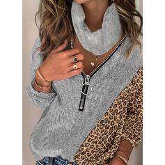 Geblockte Farben Leopard Rollkragen Freizeit Pullover