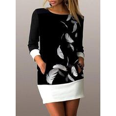 Print Long Sleeves Sheath Above Knee Casual Dresses