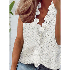 Solid V-Neck Sleeveless Casual Blouses