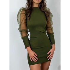 Solid Long Sleeves/Puff Sleeves Bodycon Above Knee Little Black/Casual/Elegant Dresses