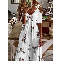 Impresión/Floral Encaje Mangas 1/2 manga de hombros fríos Vestido línea A Patinador Casual Maxi Vestidos