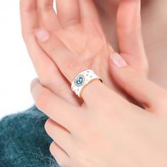 Modisch Kupfer mit Strass Frauen Ringe