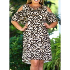 Leopard 1/2 Sleeves Shift Knee Length Casual Tunic Dresses
