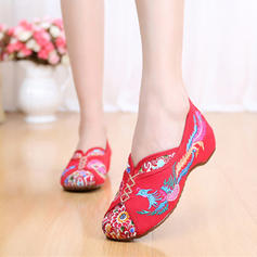 Women's Fabric Flat Heel Flats With Satin Flower shoes