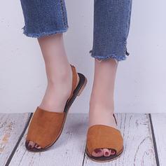 De mujer PU Tacón plano Sandalias Planos Encaje con Banda elástica zapatos