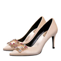 Women's Silk Like Satin Stiletto Heel Closed Toe Pumps With Crystal
