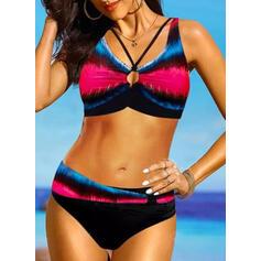 Impresión Color de Empalme Correa Sexy Colorido Bikinis Trajes de baño