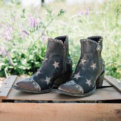 Női PU Chunky sarok Magassarkú Csizma -Val Szegecs cipő