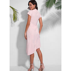 Solid Short Sleeves A-line Casual Midi Dresses