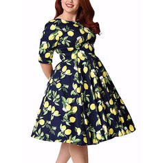 Print/Floral 1/2 Sleeves A-line Knee Length Casual/Plus Size Dresses