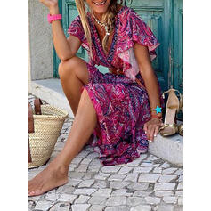 Print/Floral Short Sleeves/Flare Sleeves A-line Asymmetrical Casual/Boho/Vacation Skater Dresses