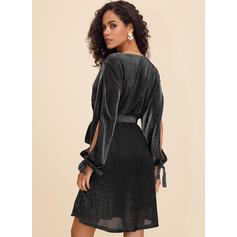 Sequins/Solid Long Sleeves/Split Sleeve A-line Above Knee Sexy/Party Dresses
