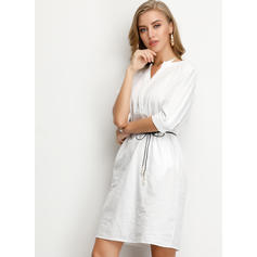 Solid 3/4 Sleeves Shift Knee Length Casual Tunic Dresses