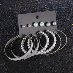 Unique Shining Alloy With Imitation Pearl Earrings (Set of 6 pairs)