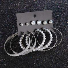 Único Luminoso Aleación con Perlas de imitación Pendientes (Juego de 6 pares)