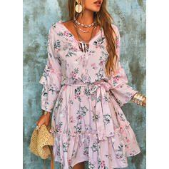 Print/Floral Long Sleeves/Flare Sleeves A-line Above Knee Casual/Elegant Skater Dresses