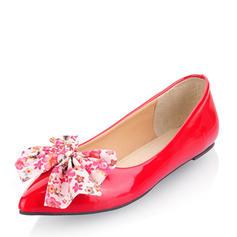 Frauen Lackleder Flascher Absatz Flache Schuhe Geschlossene Zehe mit Satin Schleife Schuhe