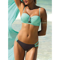 Low Waist Patchwork Strap Elegant Fashionable Bikinis Swimsuits