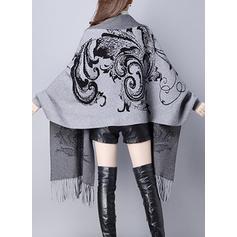 Polyester Manches longues Inmprimé Manteaux en Tissu Mixte