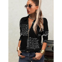 Print Letter Lapel Long Sleeves Casual Blouses