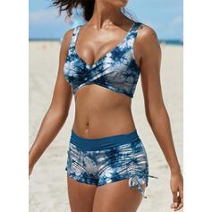 Kolor splotu Zasznurować W prążki Dekolt w kształcie litery V Duży rozmiar retro Nieformalny Bikini Stroje kąpielowe
