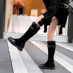 Women's Leatherette Low Heel Mid-Calf Boots With Stitching Lace Zipper Split Joint shoes