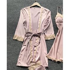 Polyester Floral Slip Cami Set Robe Pyjama Set