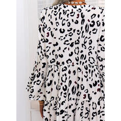 Leopard Long Sleeves Shift Above Knee Casual Tunic Dresses