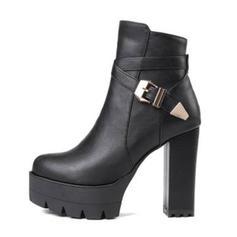 Femmes Similicuir Talon bottier Escarpins Plateforme Bottes Bottines avec Boucle chaussures