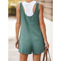 Solid Strap Sleeveless Casual Vacation Romper