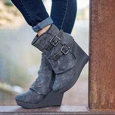 PU Wedge Heel Boots With Buckle shoes