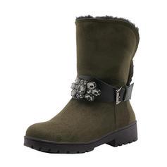 Femmes Suède Talon bas Bout fermé Bottes Bottes mi-mollets Bottes neige avec Strass Boucle chaussures