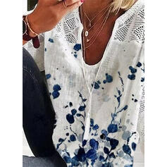 Print Hollow-out V-Neck 3/4 Sleeves Casual Blouses