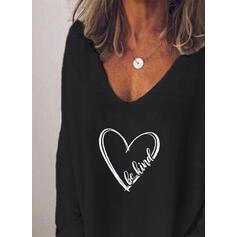 Print V-hals Lange Mouwen Casual T-shirts