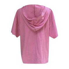 Print V-neck 1/2 Sleeves Casual Knit T-shirts