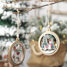 Merry Christmas Hanging Elk Wooden Christmas Pendant Tree Hanging Ornaments