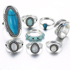 Alloy Turquoise Unisex Rings (Set of 8)