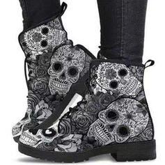 De mujer PU Tacón ancho Botas Martin botas con Cordones Estampado flor zapatos