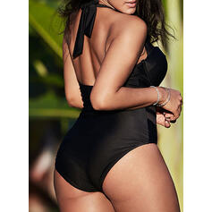 Solid Color Mesh V-Neck Sexy Plus Size One-piece Swimsuits