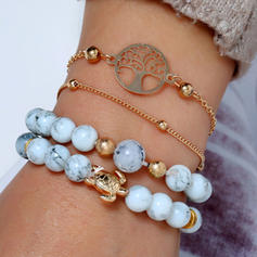Tortoise Alloy Resin Women's Fashion Bracelets (Set of 4)